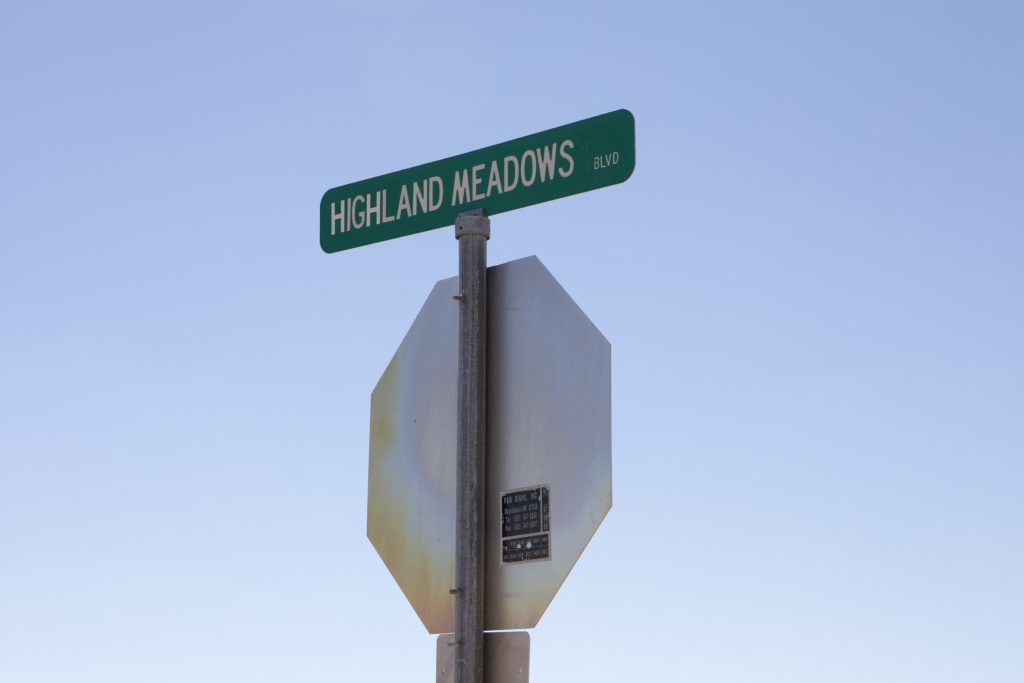 Highland meadows blvd sign